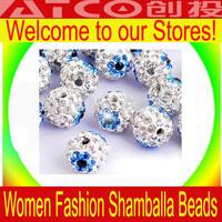 Wholesale 100pcs/lot Newest Shamballa Beads White And Blue Crystal Round  disco ball beads Diameter 10mm Free Shipping ZG008