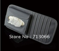 Free shipping Car CD DVD Case Box Sun Visor Sleeve Holder Case With  Paper towel box soft leather material  wholesale &retail