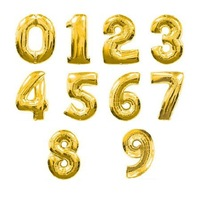 10 PCS/lot Golden figures balloons Kids birthday party decorations Inflatable Number balloons