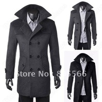 Men's Wool Coat Winter Trench Coat Outear Overcoat Long Jacket Black Gray