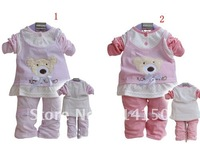 FREE SHIPPING----Girls clothing girls suits 2pcs sets bear design tops+trousers bowknot ornament dot design 3sets/lot
