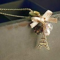 Sunshine jewelry store fashion elegant Eiffel Tower necklace x155 (min order $10 mixed order)