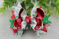 cute christmas tree printed ribbon of  hair bows, 2013 hot selling!