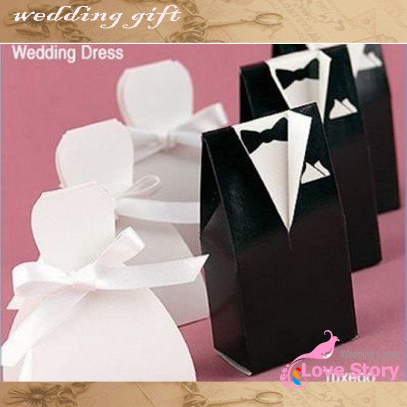 2015 Free shipping 50pcs/lots Bride and Groom Wedding Favor Boxes gift box candy box,party show gifts(China (Mainland))