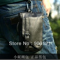 Hot-selling Fashion Male Waist Pack Bag Cigarette Packaging Small Backpack Strape Shoulder Bag PU Leather Bag Free Shipping