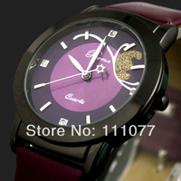 NEW PURPLE LUXURY CLOCK QUARTZ HOURS ANALOG DIAL PURPLE LEATHER WOMEN WRIST WATCH