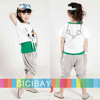 2014 Fashion Suits Girls Summmer Casual Sets Tank Tops + Tshirts + Pants,Kids Cartoon Outfits,Free Shipping K0436