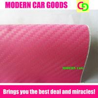 Wholesale 127cm x 30m pink 3d carbon fiber vinyl film car vinyl car wrap with  air free bubbles practicable car stickers