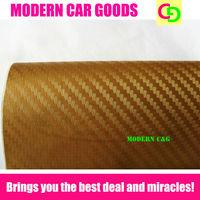 wholesale 127cm x 30m golden 3d carbon fiber vinyl film car vinyl car wrap with air free bubbles car stickers