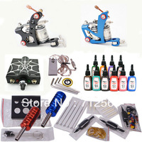 Professional tattoo kit with 2pcs top tattoo gun and 20pcs tattoo needles high quality free shipping