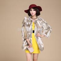 Free shipping Autumn Lady Fashion Real Rabbit Fur Coat Jacket  Winter Women Fur Outerwear Coats Apparel VK0194