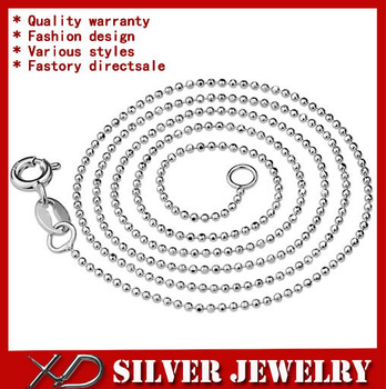 XD Y936 Wholesale 925 sterling silver 1.5mm beads chain necklace unisex jewelry ball chain necklace