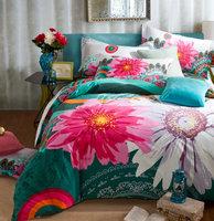hometextile Pink flower floral blue green sanding 4pcs King/Queen/Full comforter/quilt/duvet covers bedding sets