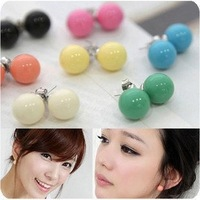 Wholesale Fashion Candy Color Lovely QQ Bead Earrings Sweet Stud Earring Women NEW 100pair/lot frees hipping