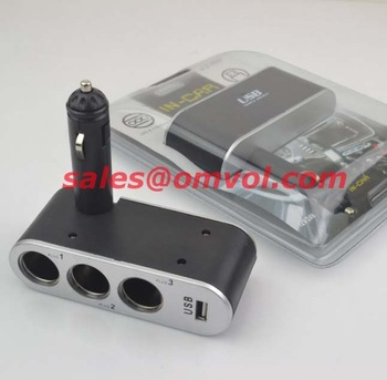 USB 3 way Car Cigarette Lighter Socket Splitter Charger