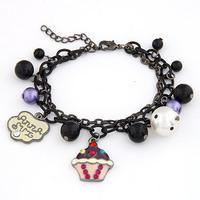 [Min order 15USD]wholesale Fashion Elegant Chain Black chain Pearl Beads Cake Charm Bracelet bangle