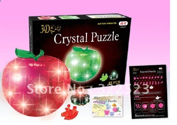 Best selling!! 3D Puzzle Crystal Decoration Red Green Apple Puzzle IQ Gadget Hobby Toy Gift Free shipping, 1 pcs