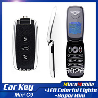 "Free Shipping Unlocked Single SIM Card Mini Car Key Phone C9 Luxury Phone with 1.5"" Screen / Camera / FM / Bluetooth"