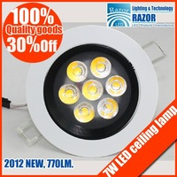 Free shipping ,high-end product Popular 7W Epistar led ceiling lamp,high power led downlight ,770LM,2012New's rush!!!