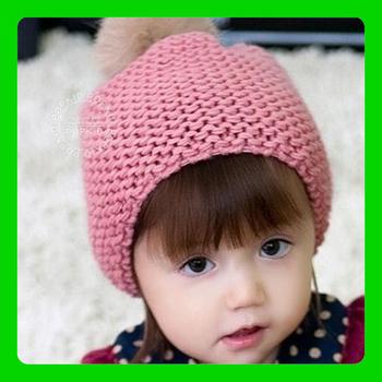 SMILE MARKET Free shipping 1pieces   Hats wholesale Child Rabbit fur ball wool cap Autumn and winter hat children winter hat