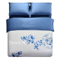 Free Shipping - 40s 100% Sateen cotton  blue and white porcelain Embroidery luxury bedding set / 4pcs duvet cover/bed linen