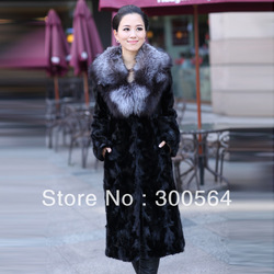 High Quality!Women's_fur_coat, New style 2013 leather coat ultra long mink fur overcoat fight mink fox fur,Black Color(China (Mainland))