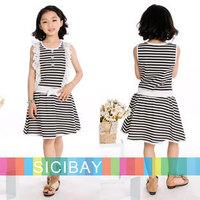 Girl Dresses New Arrivals Free Shipping Black Striped Dresses Knot Design Girls Summer Cute Dress K0383
