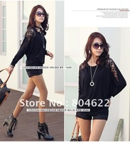 Latest  Women's fashion blouses long lace sleeve round neck, korean batwing shirt Free Shipping, Gray and Black  AS2102