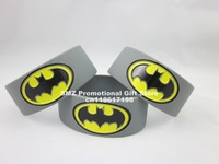 BATMAN Bracelet Gray Wide 1 Inch Bracelet Wrist Band,silicone band,custom design,color filled debossed,50pcs/lot,free shipping