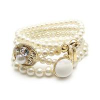 [Mix 15USD]  HOT Korean Fashion Exquisite Handmade Strand Multi-layer Pearl Bow Bangle bracelet