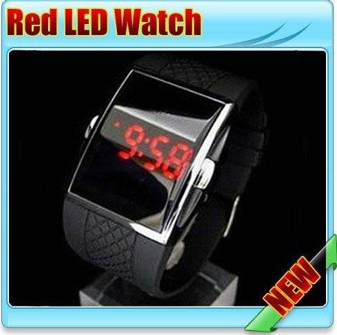 DHL Free 50Pcs/lot 4 Colors NEW Fashion Intercrew Led watch,LED luxury Date digital watch Mens Sports Red Led watch(China (Mainland))