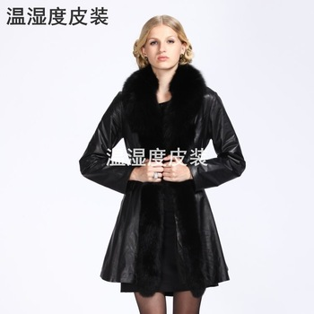 2012 genuine leather women's long design jacket black red pink biker jackets outerwear sheepskin free shipping dropship ex-1211