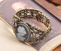 [Mix 15USD] Fashion Vintage & Retro Royal Beauty lady hollow metal Cuff Bracelets Bangles