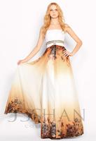 11P040 Strapless Rhinestoned Empire Sexy Junoesque Elegant Gorgeous Unique Patterned Chiffon Evening Dress Short Prom Dress