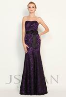 11P054 Strapless Sash Mermaid Laced Elegant Gorgeous Luxury Unique Junoesque Purple Matte Satin Evening Dress Girls Party Dress