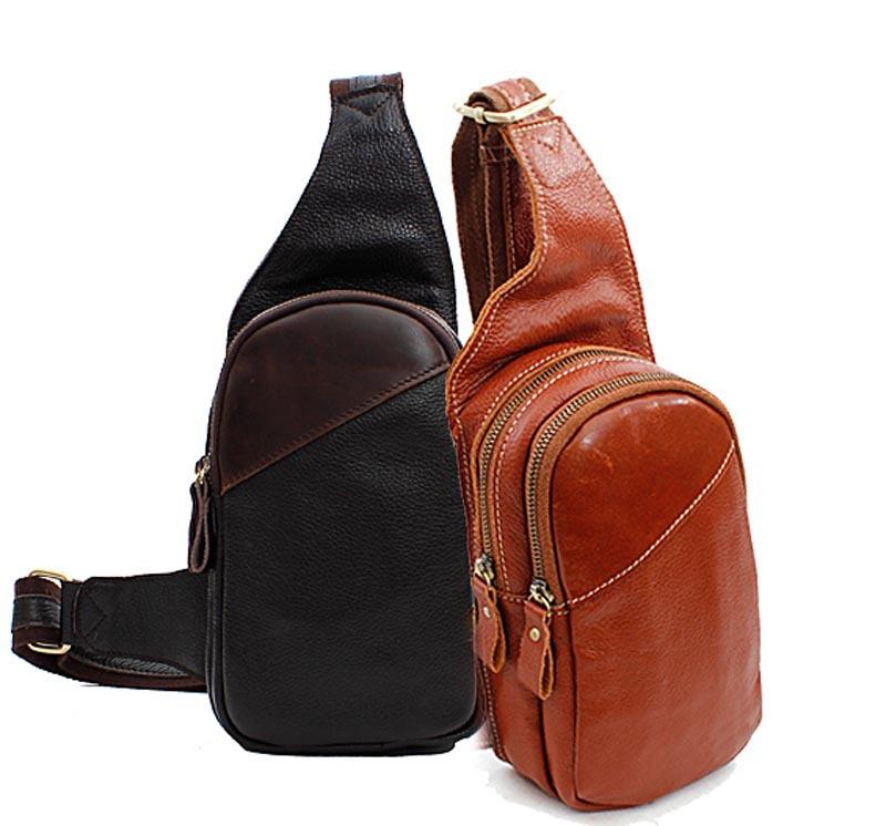 Schoudertas Mannen Zwart : Groothandel lederen sling backpack kopen