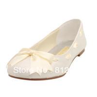 Large sizes women flat shoes ribbon bridal wedding shoes