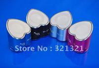Free shipping (10pcs/lot) LOVE Heart Shaped Portable Multimedia Mini MP3 Speaker Support USB  FM Radio Pure Bass Clear Treble