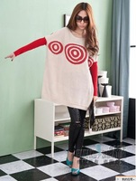 2046 loose circle stripe batwing shirt outerwear knitted sweater