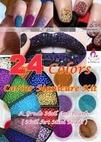 Fashion Caviar Nails Art Manicures Kit 24 Colours Pedicures Nail Art Professional 24 jars/lot 6.5g/jar - Free shipping