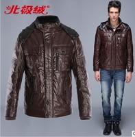 Top quality fashion Men's winter short design faux leather Down coat