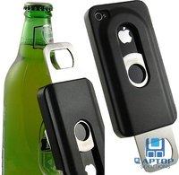 BLACK BEER BOTTLE OPENER SLIDE IN/OUT CASE COVER FOR APPLE iPHONE 4S 4 4G