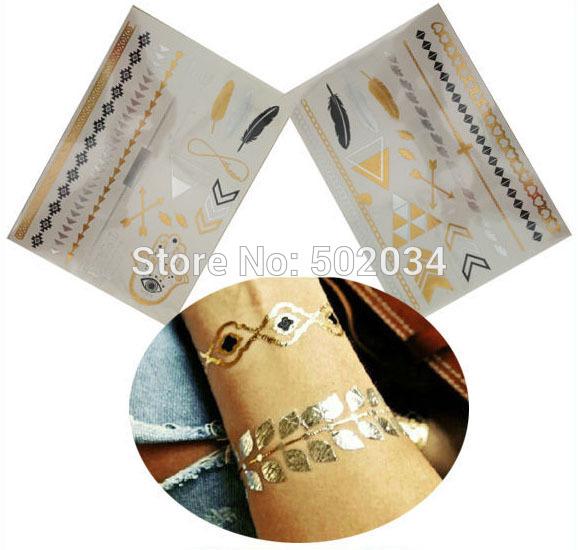 Freeshipping 2pcs/Lot 2014 New Design 21*15CM gold silver metalic temporary tattoo stickers for glitter stencil kit
