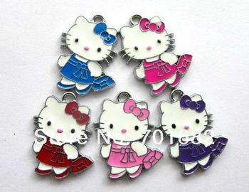 wholesale hello kitty 50pcs mixed color zinc alloy Approximately25x18mm Hang Pendant Charm fit necklace cell phone charms stock