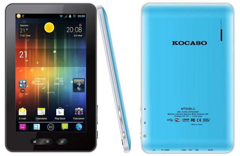 "Kocaso M760 Capacitive Android 4.0 7"" Tablet PC 1.2Ghz 4GB WiFi Colors"