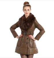 New High quality Winter rex rabbit hair medium-long PU women's down coat