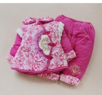 free shipping 4sets/lot cotton girl warm hoody girl's suit 2color girl winter coat pant warm winter wear wholesale and retail