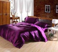New arrival!Queen&King size 4pc Purple Imitation silk bedding set solid color bed linen bedclothes bed sheet/duvet cover textile