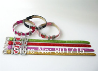 free shipping 10pcs Glint Wristband with slide letters charms I love 1D mixed color 8mm wide 21cm length DIY Accessory