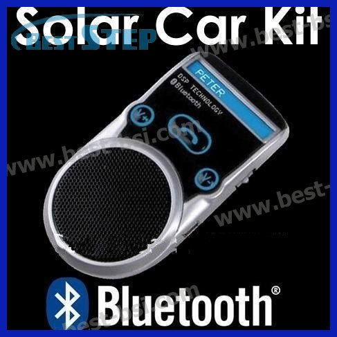 Free CN Post New Solar Powered Bluetooth Car Kit Handsfree call Car Kit with LCD, built-in Li-battery; support 2phones same time(China (Mainland))